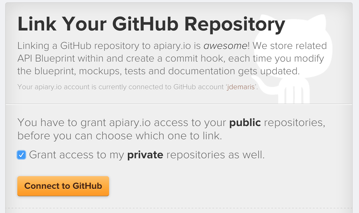 How to apiary github readme integration demar check the box to grant access to the private repositories if youre connecting to a private one and then click connect to github malvernweather Choice Image